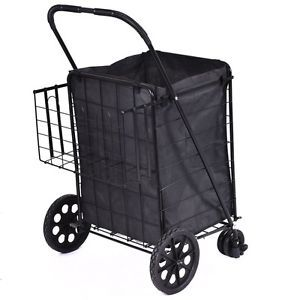 Shopping carts for seniors home grocery with wheels folding extra basket trolley