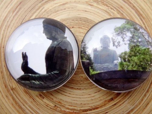"Buddha glass magnet dome 1.4"" buddhist tian tan hong kong prayer meditation"