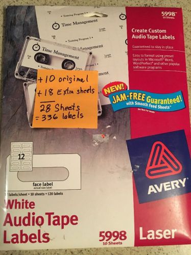 Avery 5998 white audio tape laser labels 132 labels discontinued + extra 18 shts