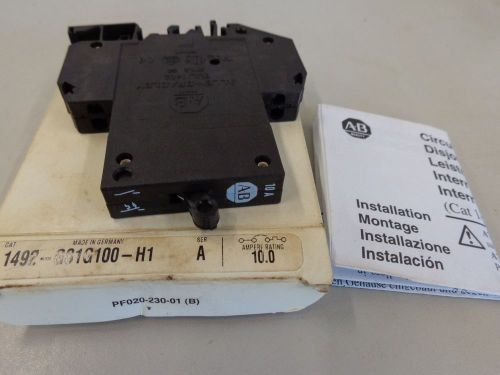 Allen bradley 1492-gsig-100-h1 single pole circuit breaker series a 10.0 amp