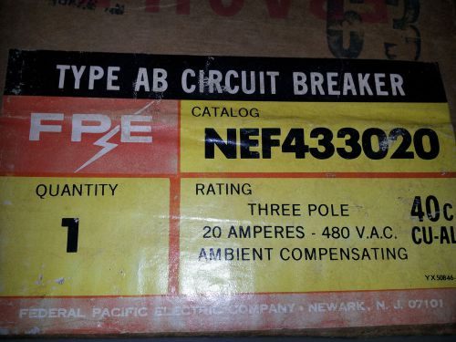Federal pacific nef433020 new in box 3p 20a 480v bolt in breaker #a2