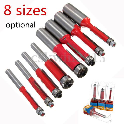 "8pcs 1/4"" /1/2"" end dual flutes straight shank trim router flush trim cutter bit"