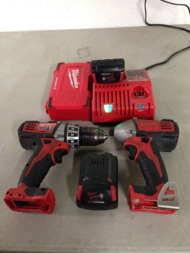 "Milwaukee m18 combo set impact driver & 1/2"" drill 2 compact batteries charger"