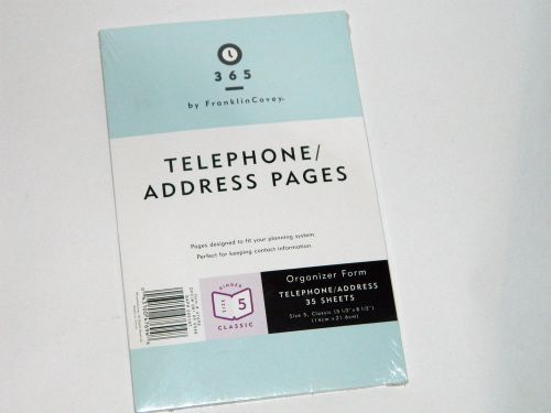 Franklin covey telephone/address pages - size 4 compact