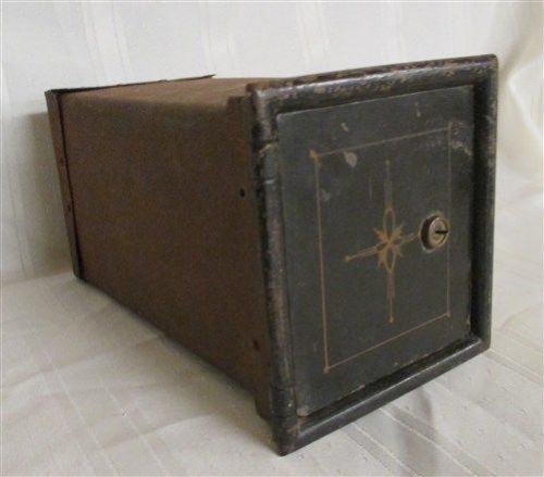 Small metal safety deposit box wooden drawer cash safe bank lock box vintage