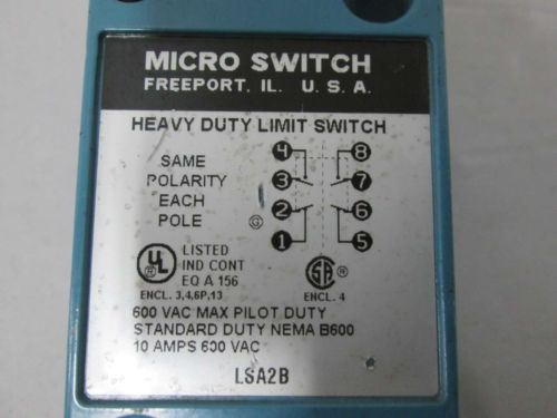 NEW HONEYWELL LSA2B MICRO SWITCH LIMIT SWITCH 600V-AC 10A AMP D368784, US $10.64 � Picture 2