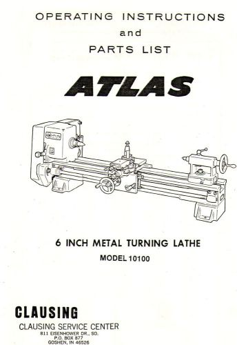 Clausing Atlas 10100 Lathe Manual PDF with Hi Res Photo of