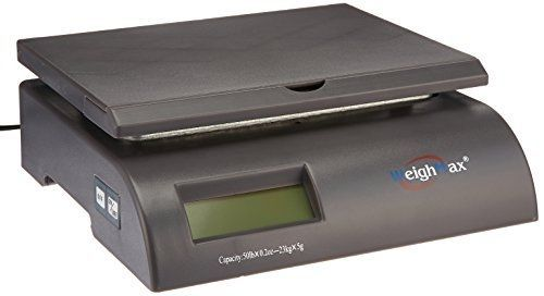 Weighmax capacity postal shipping scale, battery and ac adapter included, gray