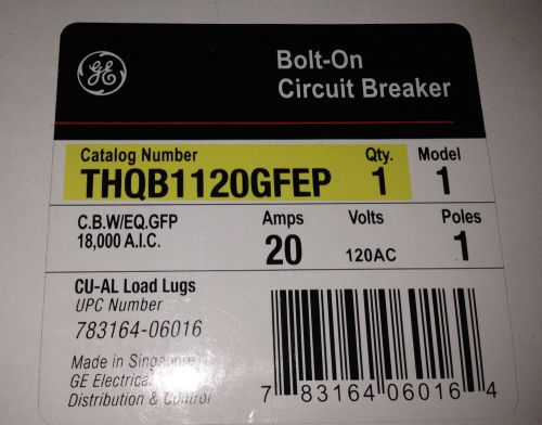 Ge thqb1120gfep bolt-on circuit breaker 20 amp