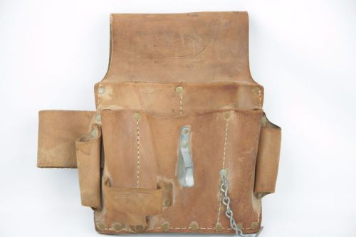"Vintage electrician's pal cowhide leather tool pouch stock number 500 8"" x 10"""
