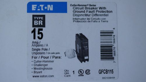 Eaton gfcb115 (type br) 15a breaker with ground fault protection