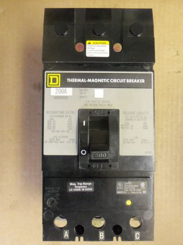 Square d kab kab36175 3 pole 175 amp 600 volt circuit breaker grey label