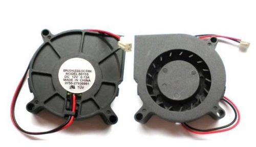 6pcs 2 wires dc 12v fans turbine brushless cooling blower fan 60mm x 15mm  6015
