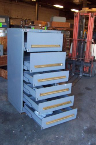 "Equipto grey 6 drawer industrial tool/parts cabinet 30""l x 28""w x 59"" h"
