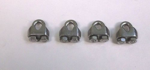 "4 bbt brand stainless steel 1/16"" (# 3) wire rope & cable clamps"