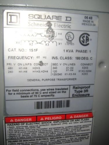 1 KVA SQUARE D TRANSFORMER MODEL# 1S1F  VOLTAGE 240 X 480 TO 120/240, US $100.00 � Picture 2