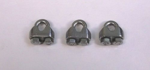 "3 bbt brand stainless steel 1/16"" (# 3) wire rope & cable clamps"