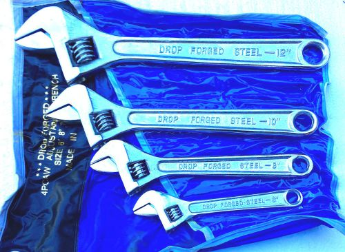 "True craft crescent type adjustable wrench set of 4 pcs  6"", 8"" 10"" &12"
