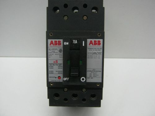 Used, abb type es, uxab-727131-r117, 3-pole 70-amp, circuit breaker