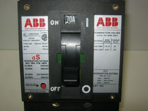 USED, ABB TYPE ES, UXAB-727131-R117, 3-POLE 70-AMP, CIRCUIT BREAKER, US $50.00 – Picture 2