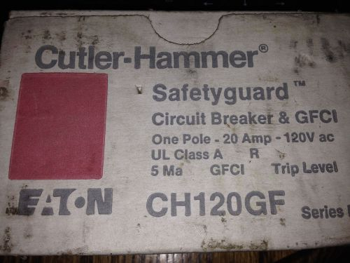 New! cutler hammer*1 pole 20 amp 120v*chb120gf circuit breaker *gfci*trip level
