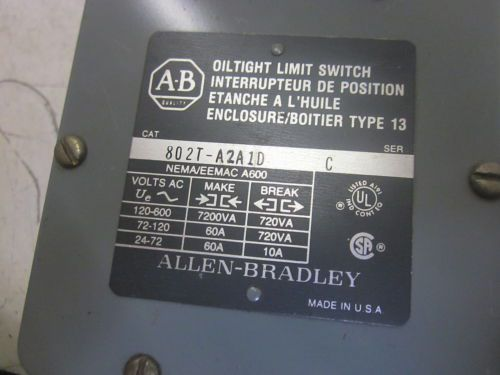 ALLEN BRADLEY 802T-A2A1D SER.C OIL TIGHT LIMIT SWITCH 600VAC *USED*, US $215.00 � Picture 4