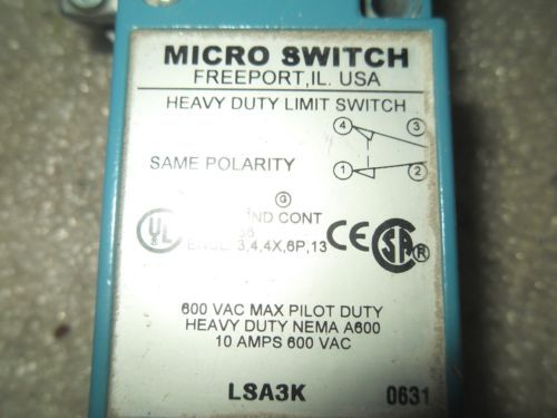 (V23-1) 1 USED MICRO SWITCH LSA3K HEAVY DUTY LIMIT SWITCH, US $42.99 – Picture 2