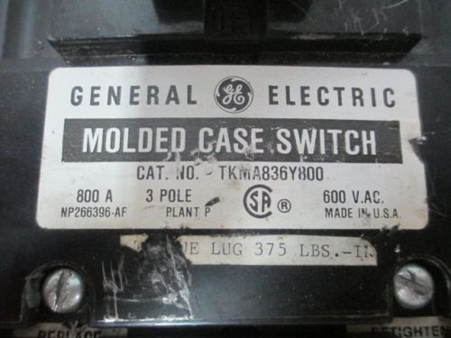 GE TKMA836Y800 MOLDED CASE SWITCH 3P 800A 600V-AC CIRCUIT BREAKER D239422, US $38.75 � Picture 5