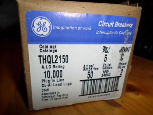 5 pk THQL2150 GE 2 pole 50amp circuit breakers NEW – Picture 2