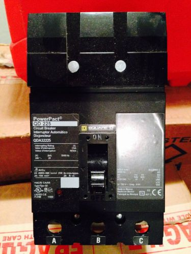 Square d qda32225 3 pole 225 amp power pact circuit breaker