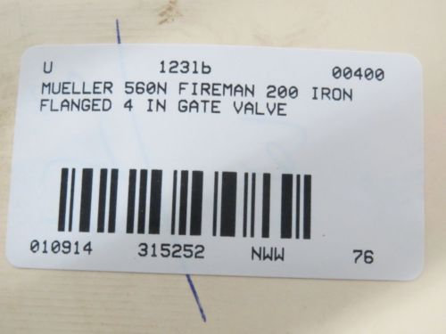 MUELLER 586N FIREMAIN 200 IRON FLANGED 4 IN GATE VALVE