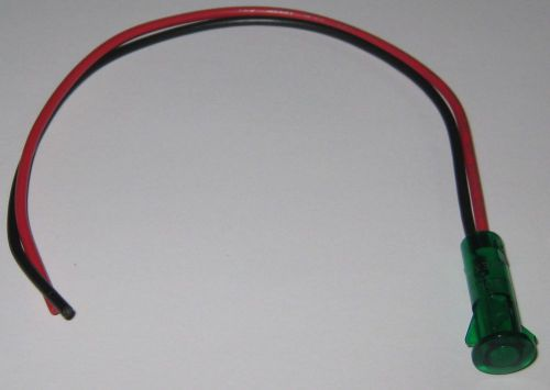 "Solico 2v dc panel mount green led indicator w/ wires for 3/8"" hole - 0.5"" face"