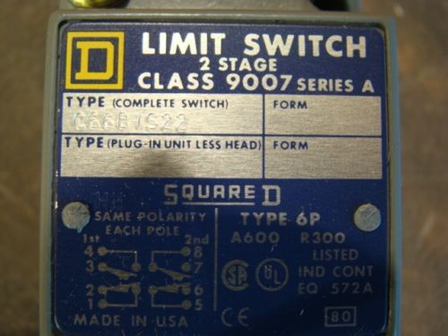 SQUARE D 9007C66B1S22  9007-C66B1S22 LIMIT SWITCH NEW, US $34.99 � Picture 3