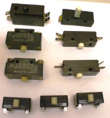 Licon & cherry, 9 assorted limit switches,  new, made in usa