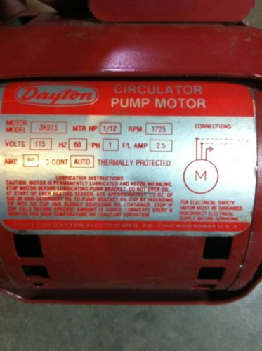 Dayton Circulator Pump : Dayton k motor circulator pump hp v rpm