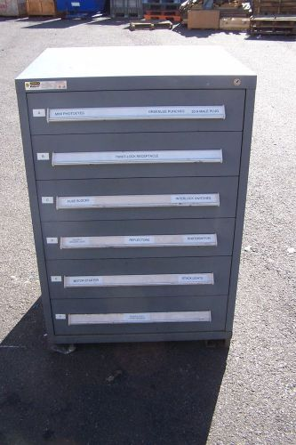"Stanley vidmar grey 6 drawer tool/parts cabinet 30""l x 28""w x 45"" h"