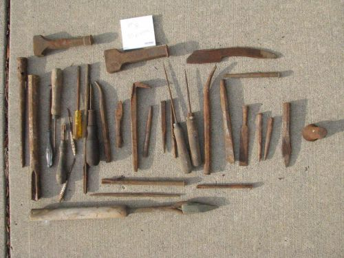 Vintage lot primitive tools old barn find lot number 8, 33 pieces awls chisels +