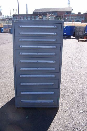 "Stanley vidmar grey 11 drawer tool/parts cabinet 30""l x 28""w x 59"" h"