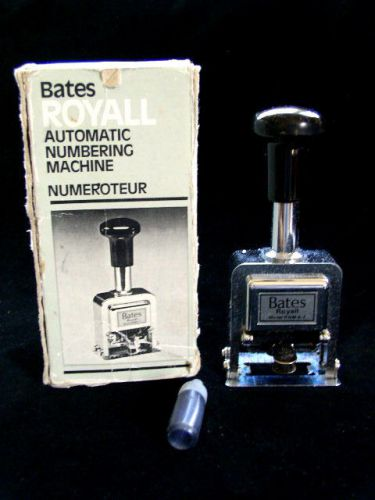 Bates royall automatic numbering machine numeroteur rnm6-7 with ink bottle
