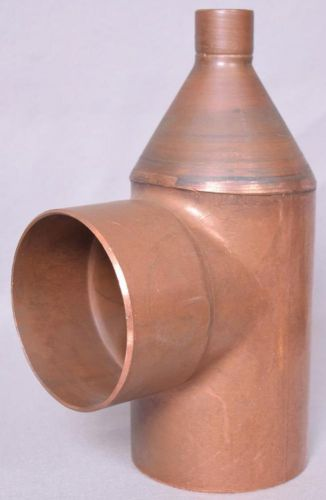 "New large copper tee reducer measures 4"" x 4"" x 1""  free shipping"