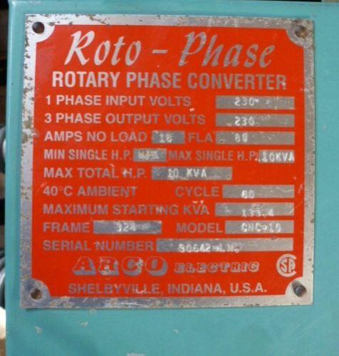 arco roto-phase cnc rotary phase converter no  cnc10, 10 hp, 230