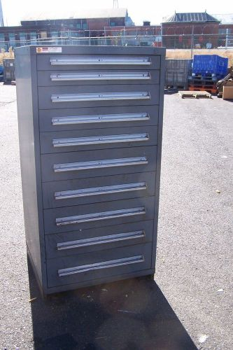"Stanley vidmar grey 10 drawer tool/parts cabinet 30""l x 28""w x 59"" h"