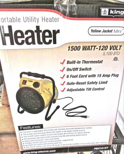Nib  utility heater ~ portable by king 1500w ~ new in box  120v ~ yellow jacket