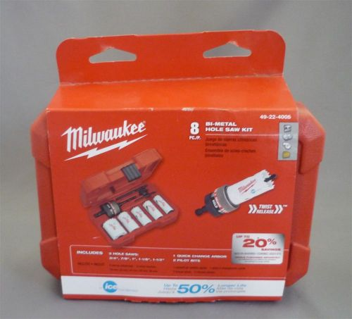 New milwaukee 49-22-4005 8 piece hole saw kit bi metal ice hardened with case