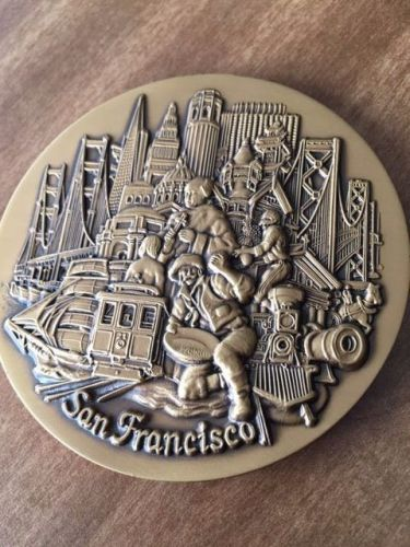 San francisco, city medallion with stand for office desk