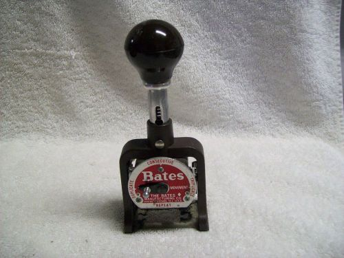 Vintage bates 6 wheel numbering machine style e consecutive, dupli & triplicate