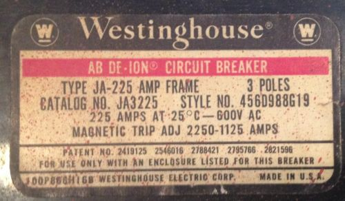 Westinghouse JA3225 225 Amp 3 Pole Circuit Breaker 600 VAC, US $110.00 – Picture 5