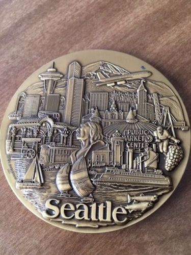Seattle, city medallion with stand for office desk , unique