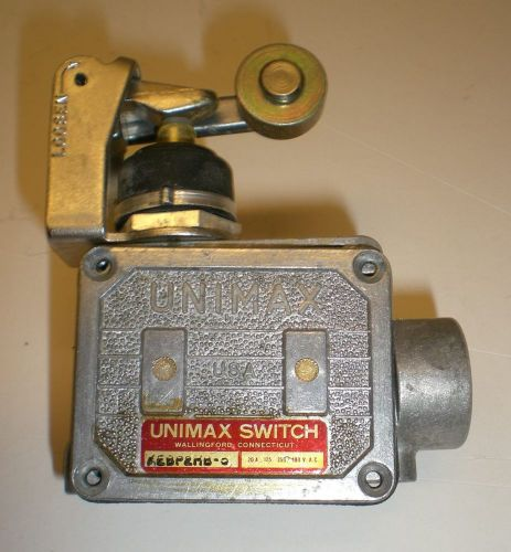 "Roller lever limit switch "" unimax switch' 20amps @480v ac,  made in usa"