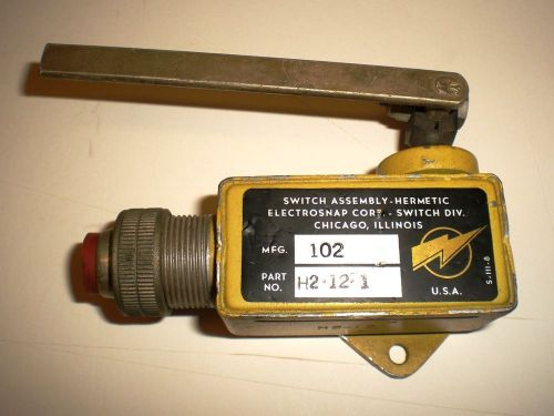 "Switch assembly-hermetic, ""electro-snap switch, mfg co"", 4"" lever, made in usa"